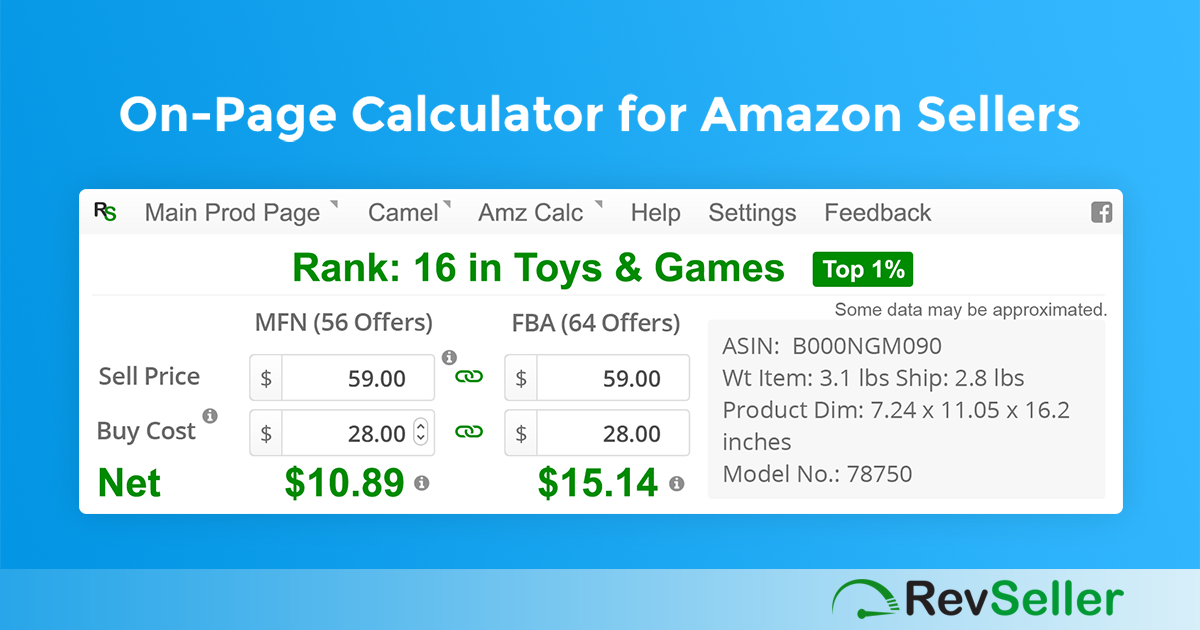 RevSeller - Google Chrome Extension FBA Calculator and More