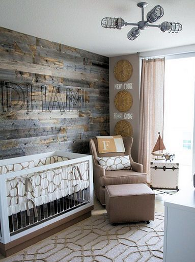 rustic world travel baby nursery theme with neutral decor in antique