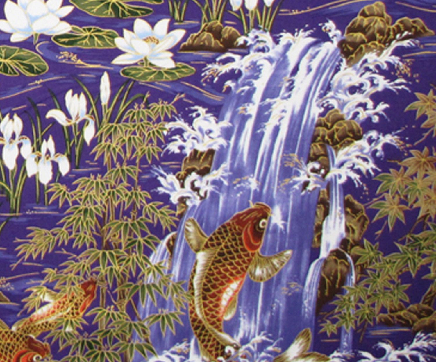 Japanese Fabric Koi Fish Lotus Flowers Water Lily Bamboo For