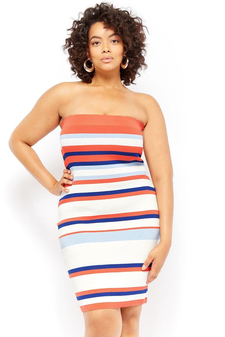 Plus Size Ribbed Multicolor Striped Maxi Tube Dress Plus Size