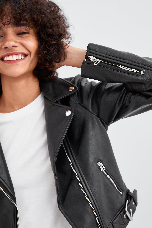 Cazadora Biker Efecto Piel Leather Jacket Style Zara Leather Jacket Leather Jackets Women [ 2880 x 1920 Pixel ]
