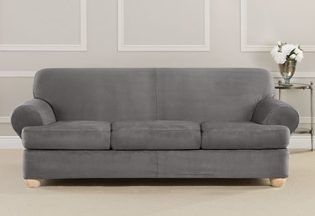 Delightful Photo Of Ultimate Heavyweight Stretch Suede Individual 3 Piece T Cushion  Sofa Slipcover