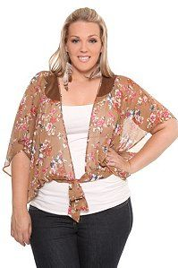 ad6b119da90 Sheer tops for summer. Plus Size Brown Chiffon Floral Tie-Front Wrap