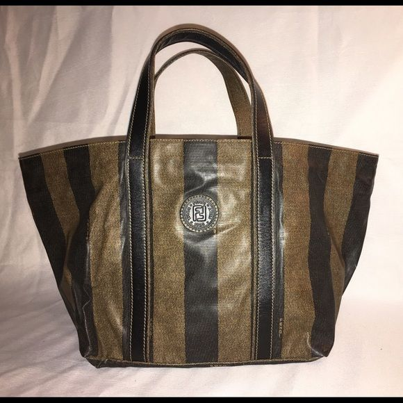 35d963b8a0ca FENDI PEQUIN STRIPE NYLON VINTAGE TOTE RARE ITALY Durable coupled with  classic
