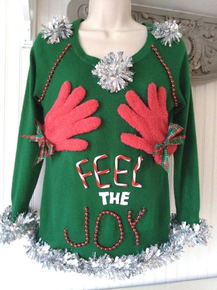 feel the joy naughty sexy ugly christmas sweater womens size small petite - Feel The Joy Christmas Sweater