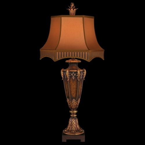 Fine art lamps brighton pavillion aged bronzed sienna with golden accents table lamp with bell shade at destination lighting