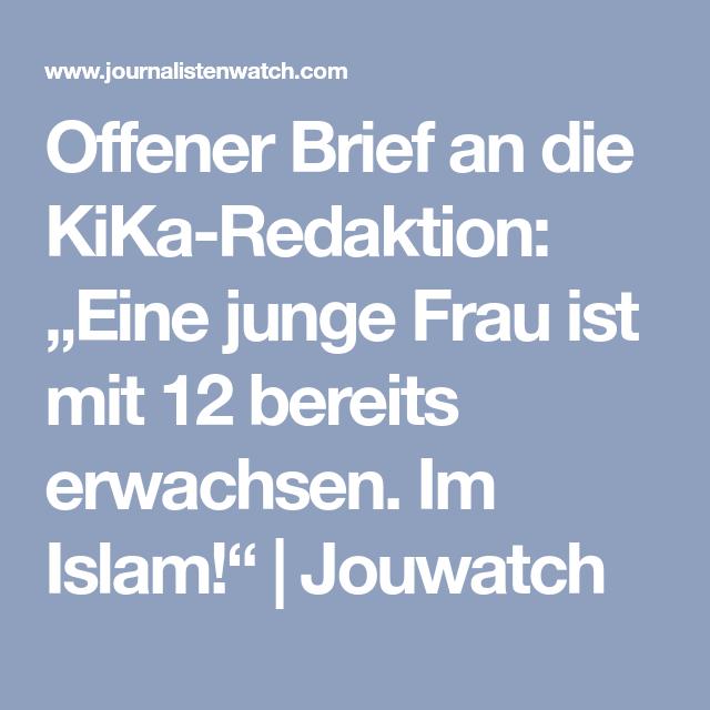"""fener Brief an KiKa Redaktion """"Eine junge Frau ist mit 12"""