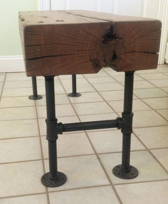 Barn Wood Beam Bench with Pipe Base