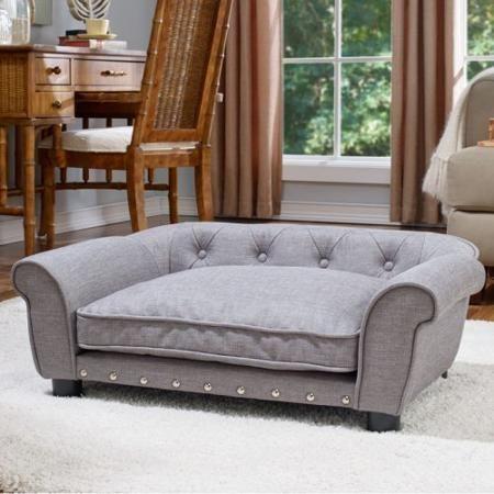 Enchanted Home Pet Brisbane Linen Tufted Pet Bed - Walmart.com