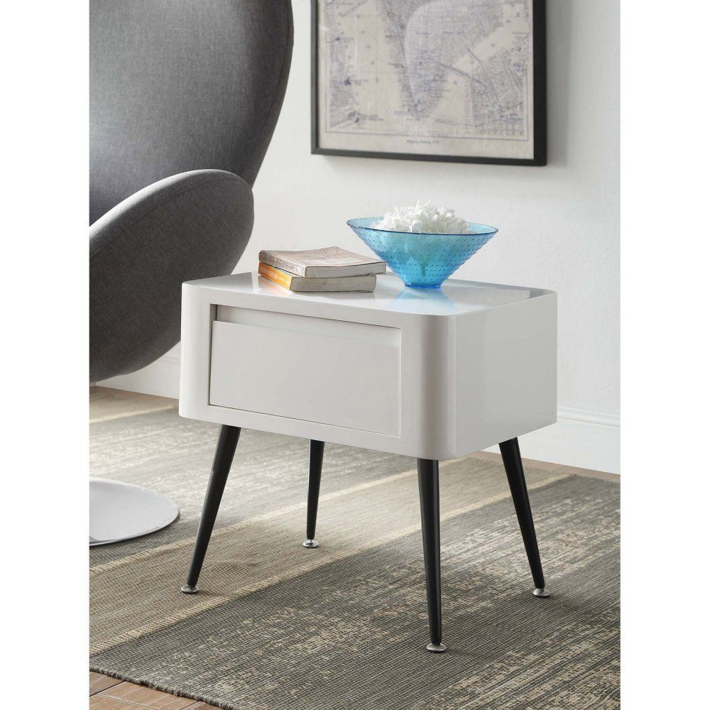 White Lacquer End Table White Side Tables White End Tables