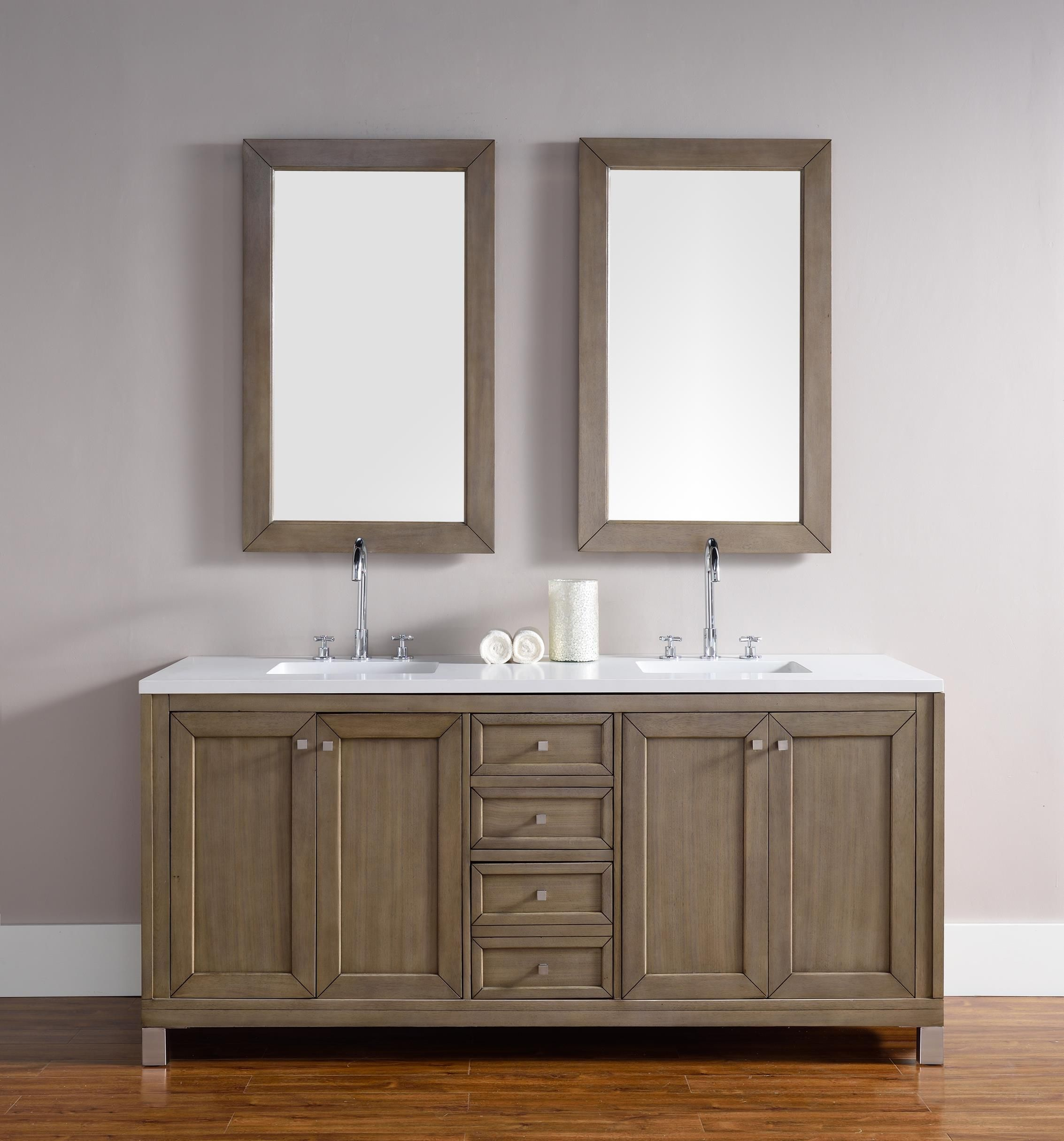 Chicago 72 Double Sink Bathroom Vanity Cabinet White Washed
