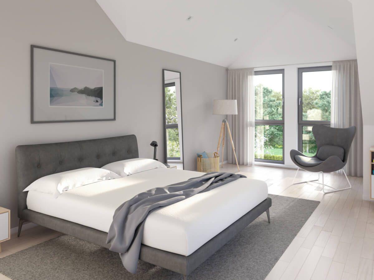 Schlafzimmer modern grau / weiss mit Erker & Dachschräge ...