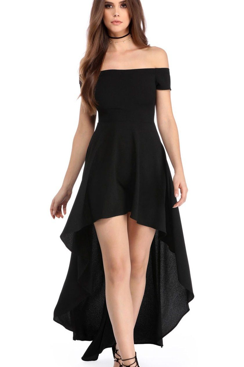 mode attrayante nouveau design 100% d'origine Robes de Soiree Courte Devant Longue Derriere Noir Epaules ...