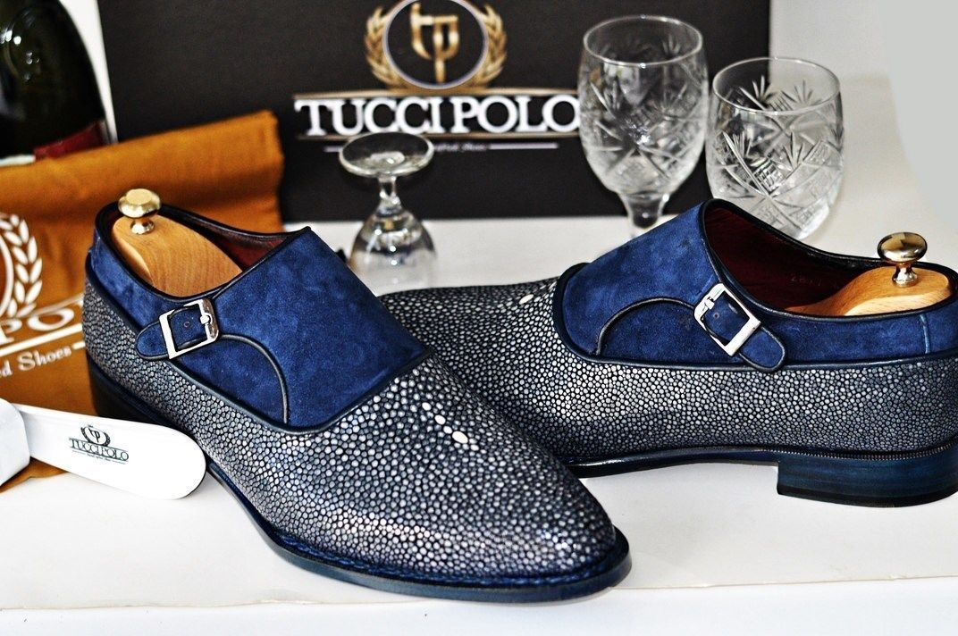 7da2daccbc5 Mens Luxury Shoes   TucciPolo Genuine Blue Stingray with Half Suede  Goodyear Welted Handmade Mens Luxury Shoe