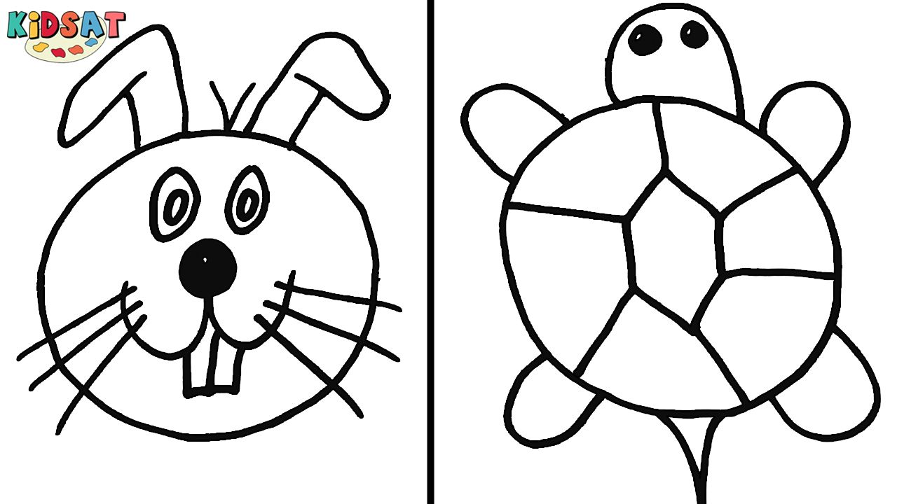 Learn How To Draw And Color A Turtle And A Rabbit Face For Kids