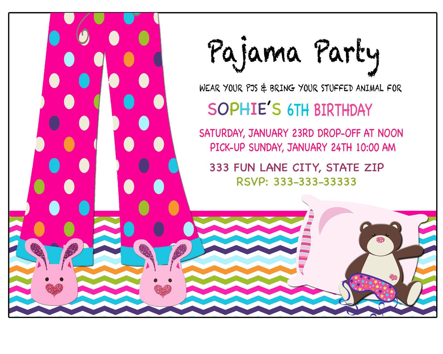 Sleepover invitation, Pajama party, invitation, Sleepover party ...