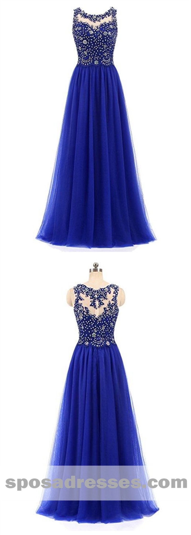 Royal blue lace beaded see through chiffon long evening prom dresses