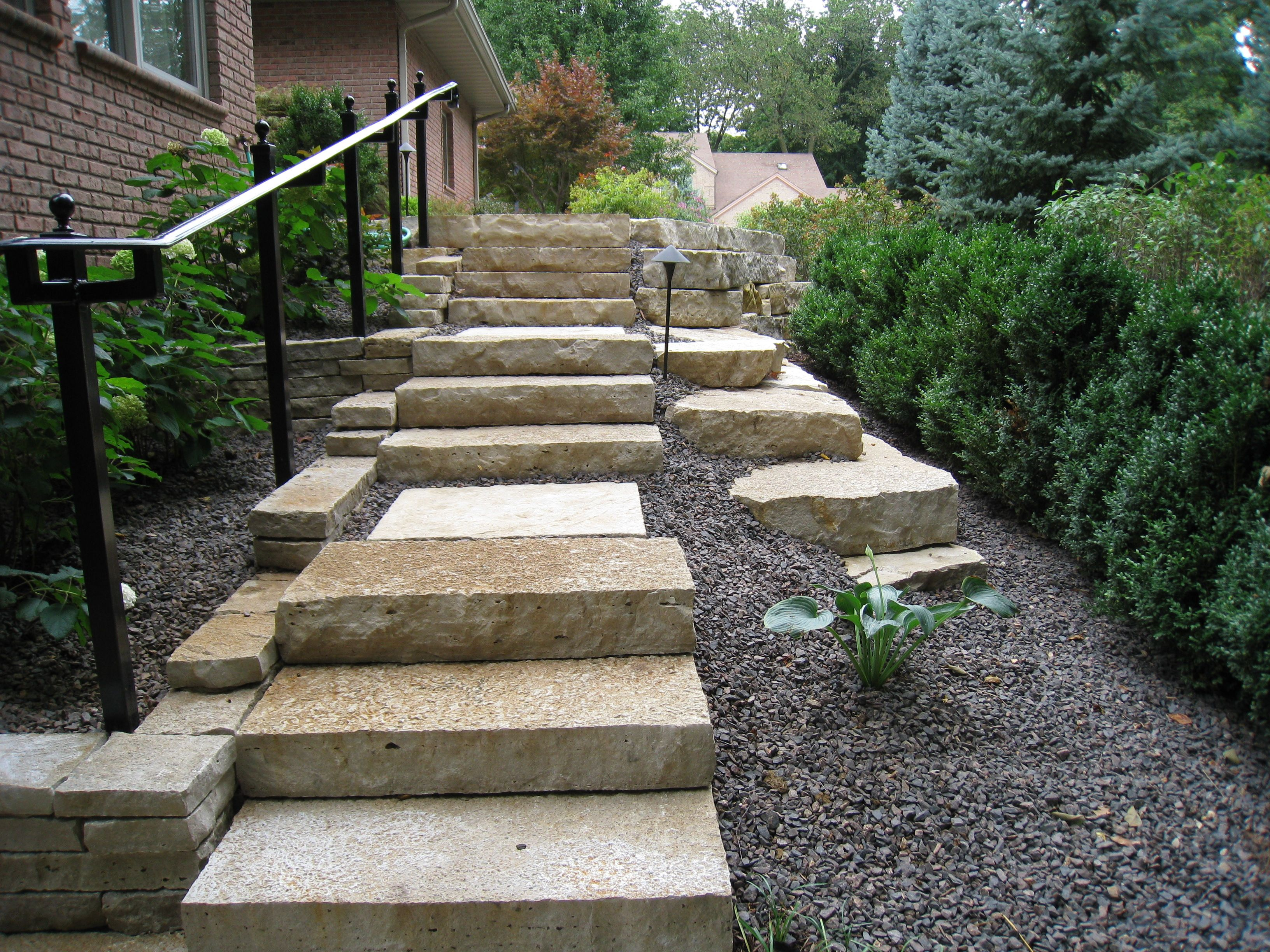 Hand Rail Stone Steps Stepping Stones Outdoor Decor Steps   Outdoor Railings For Stone Steps   Screen Porch   Modern Outdoor   Backyard   Stone Patio   Fancy