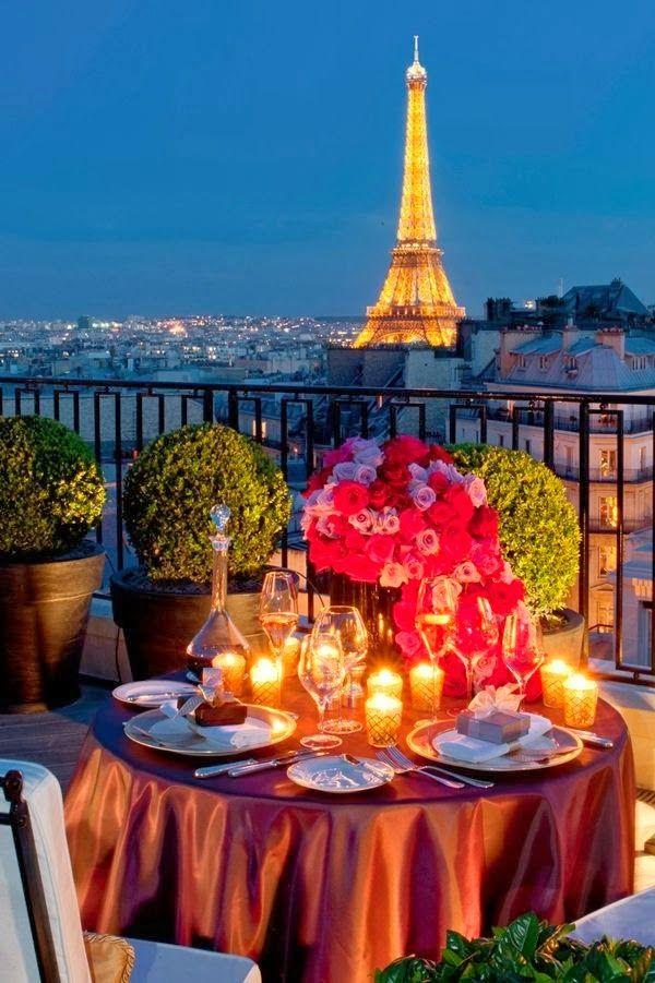 Four Seasons Hotel George V, view of Eiffel Tower Paris France