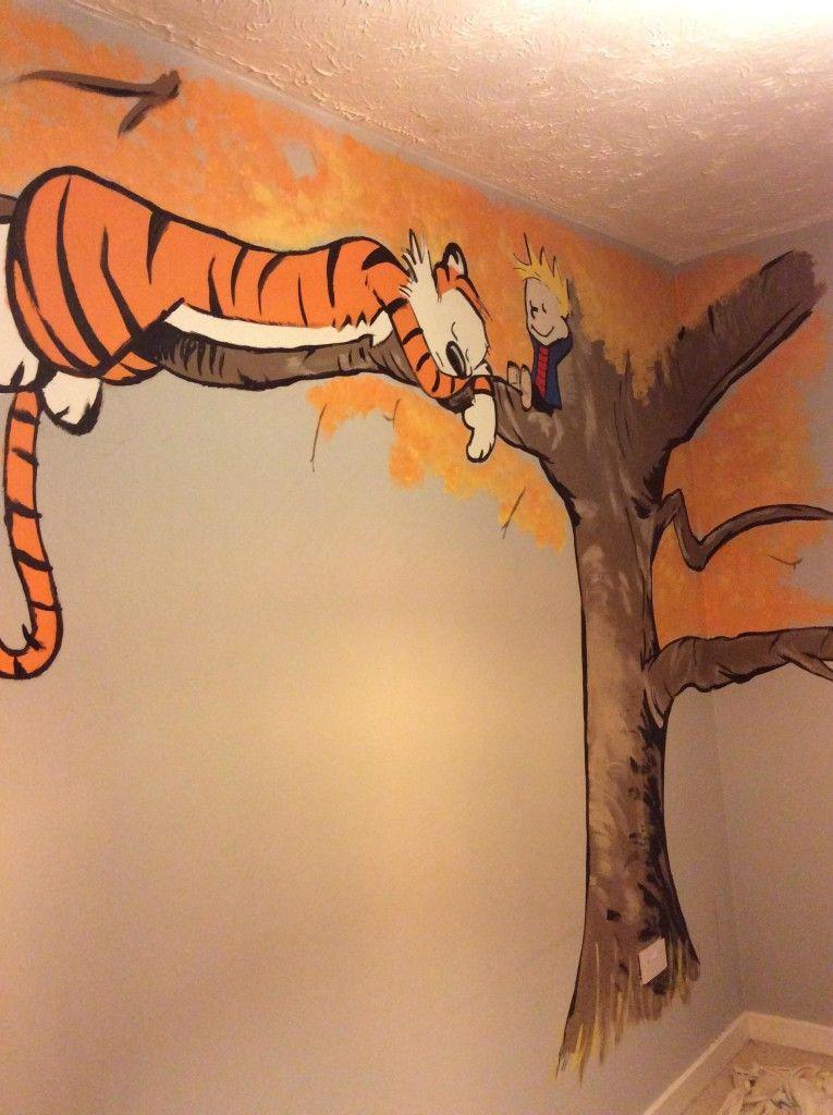 Calvin and Hobbes Nursery Mural   Nursery mural, Calvin and ...