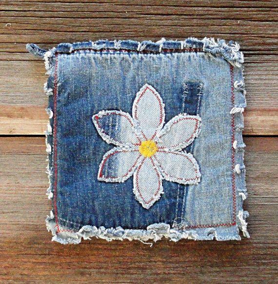 Flower Power Blue Jean Potholders Daisy Denim by DeMasterDesigns