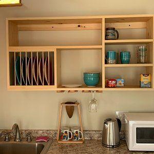 New English Style cabinet wood plate dish rack mugs glasses pottery bowls shelf