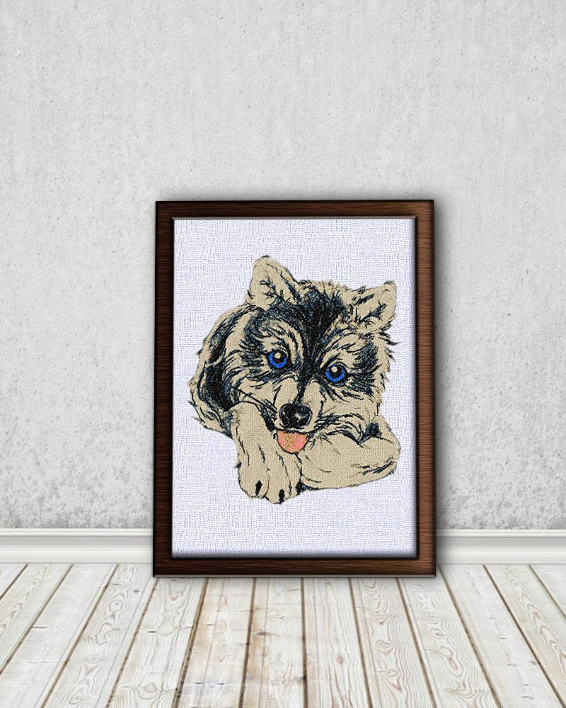 Husky Dog - Machine Embroidery Design. Scheme for Embroidery in 10 ...