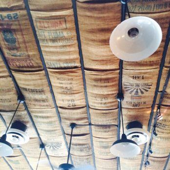 Cool Ceiling Covered With Coffee Burlap Bags Yelp