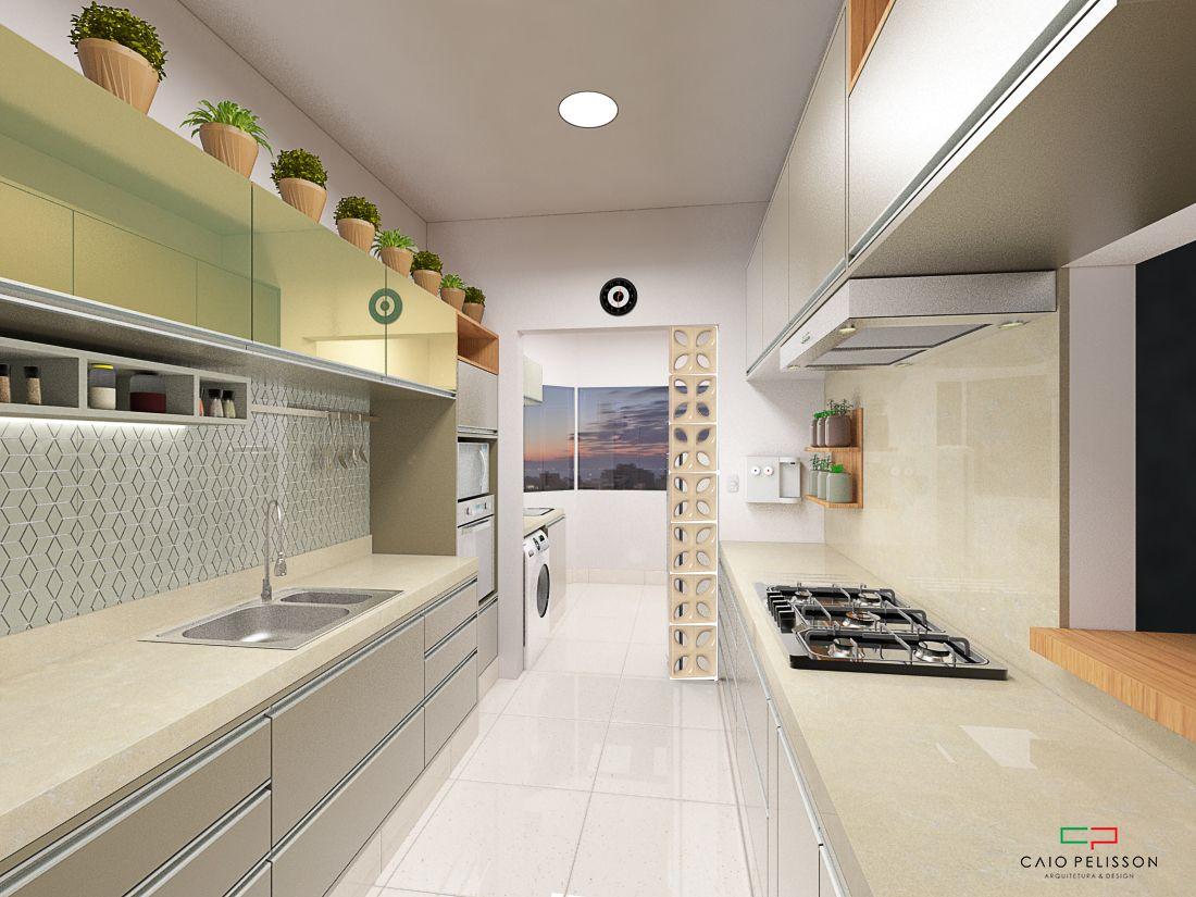 Projeto De Design De Cozinha Integrada Com Lavanderia Apartamento