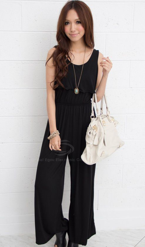 Slimming Flounced Sleeveless Loose Pants Jumpsuit For Women (RED,ONE SIZE) | Sammydress.com