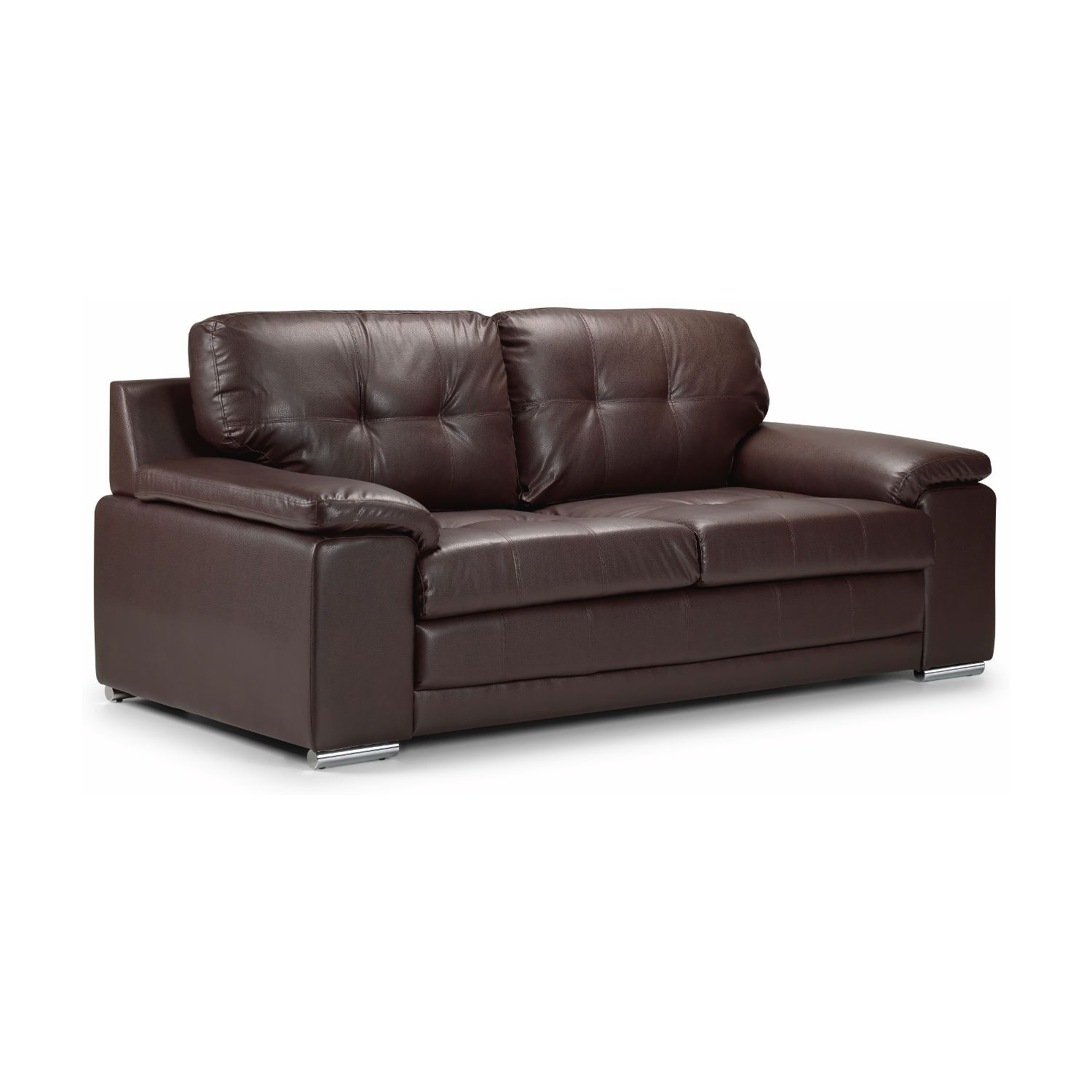 Global Furniture Rogers Black Bonded Leather Sofa With Chrome Legs