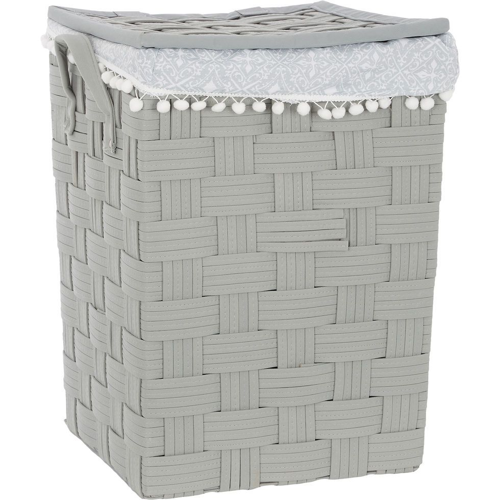 Grey Woven Laundry Hamper 62x44cm Storage Home Accessories