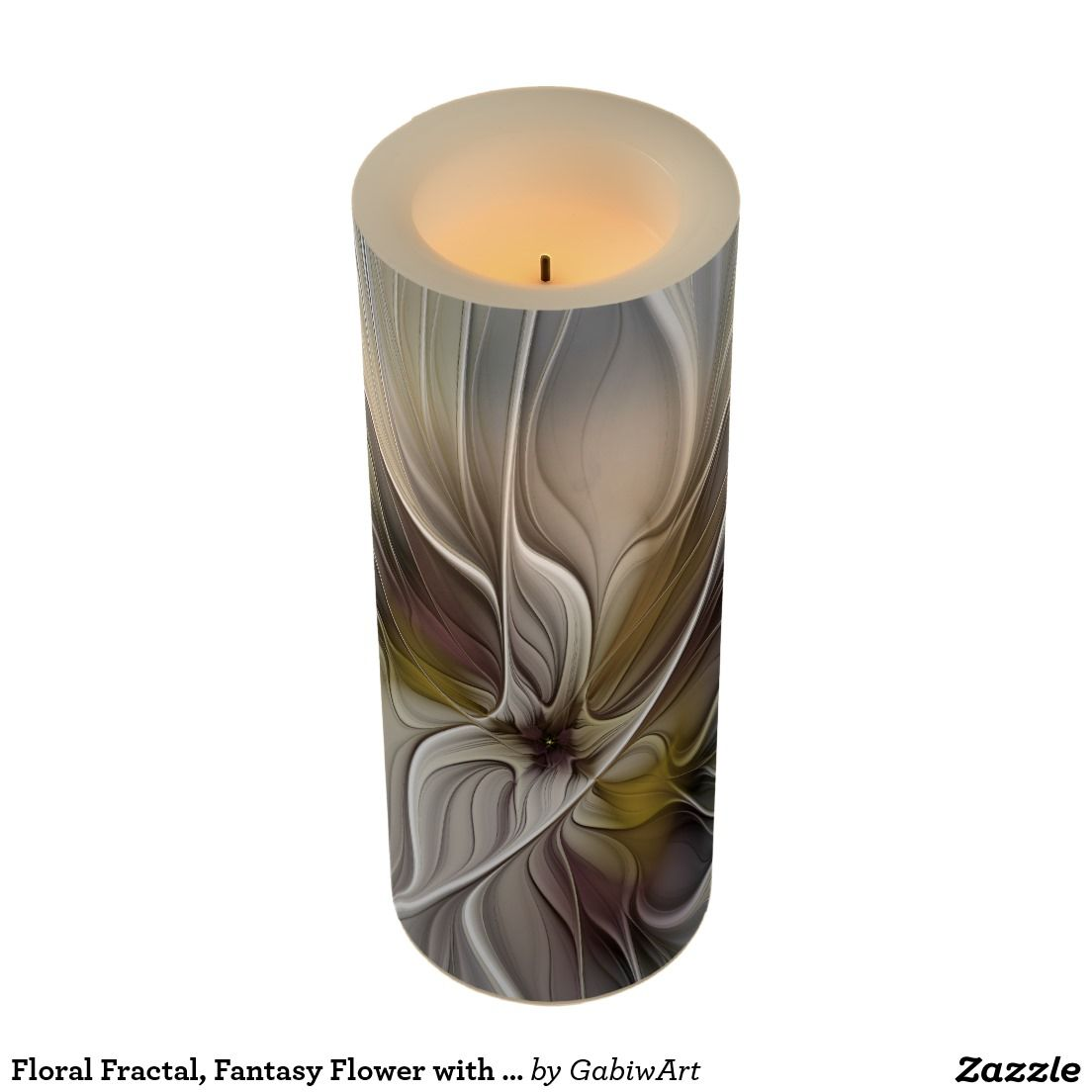 Kerzen Led Floral Fractal Fantasy Flower With Earth Colors Flameless Candle