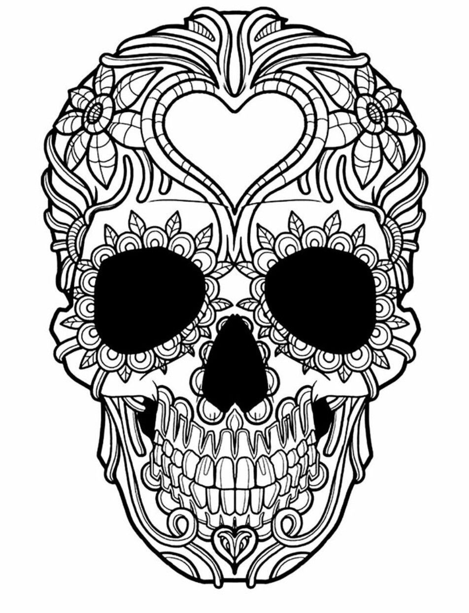 Pin by Tane Kaplan on Skull | Pinterest | Adult coloring, Coloring ...
