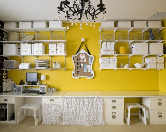 Bright wall colour, lots of storage containers to contain clutter ...