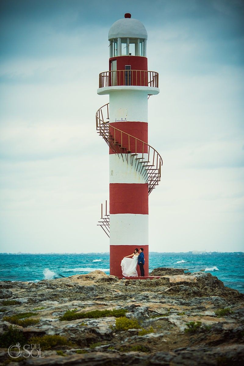 13a61aae0af00 Punto Cancun - the iconic lighthouse at Hyatt Ziva - Save the Date  Engagement - Ramona and Scott