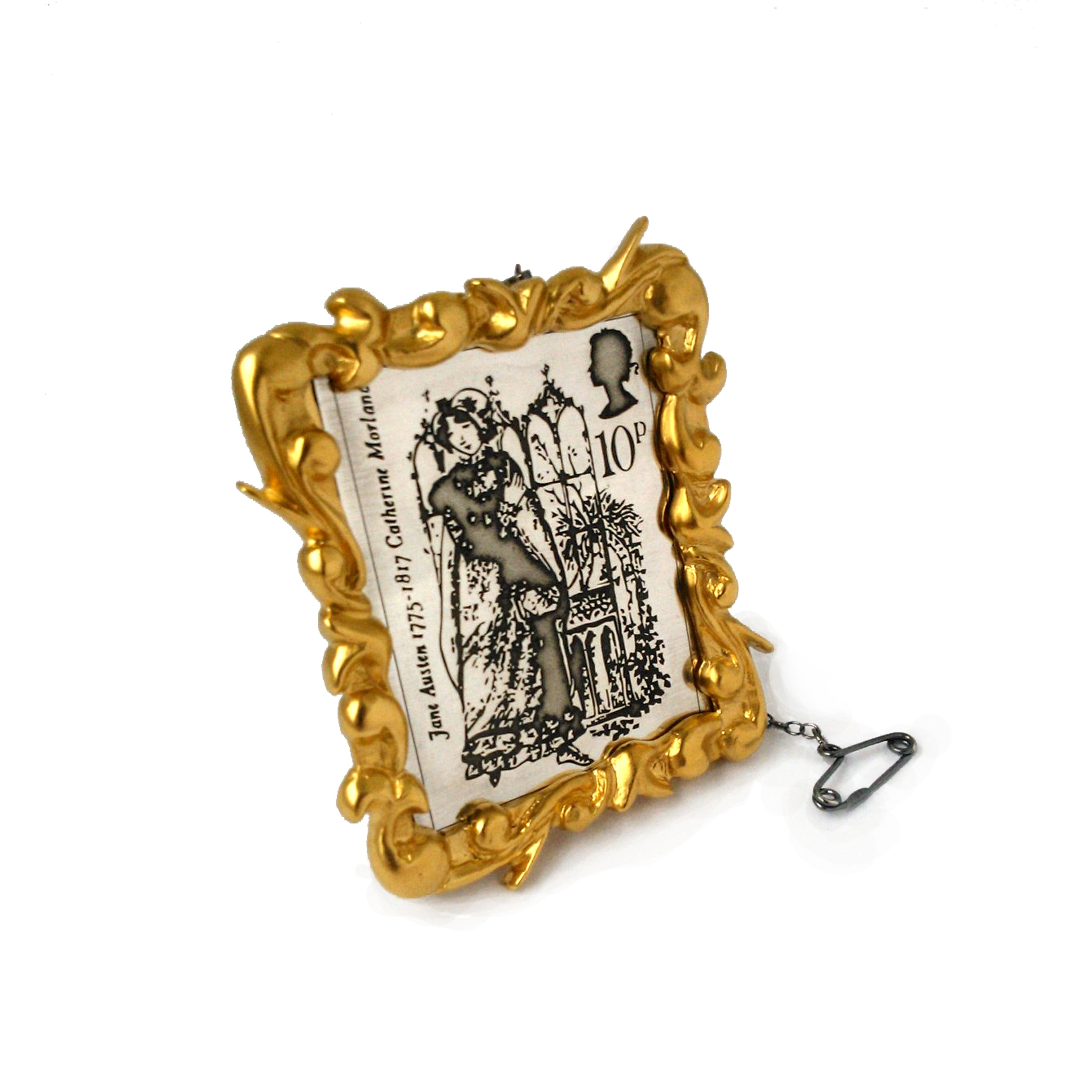 Timeless Classics - 1 of 4 brooches inspired by jane austen 1975 stamps. Silver with gold vermeil on the frame.