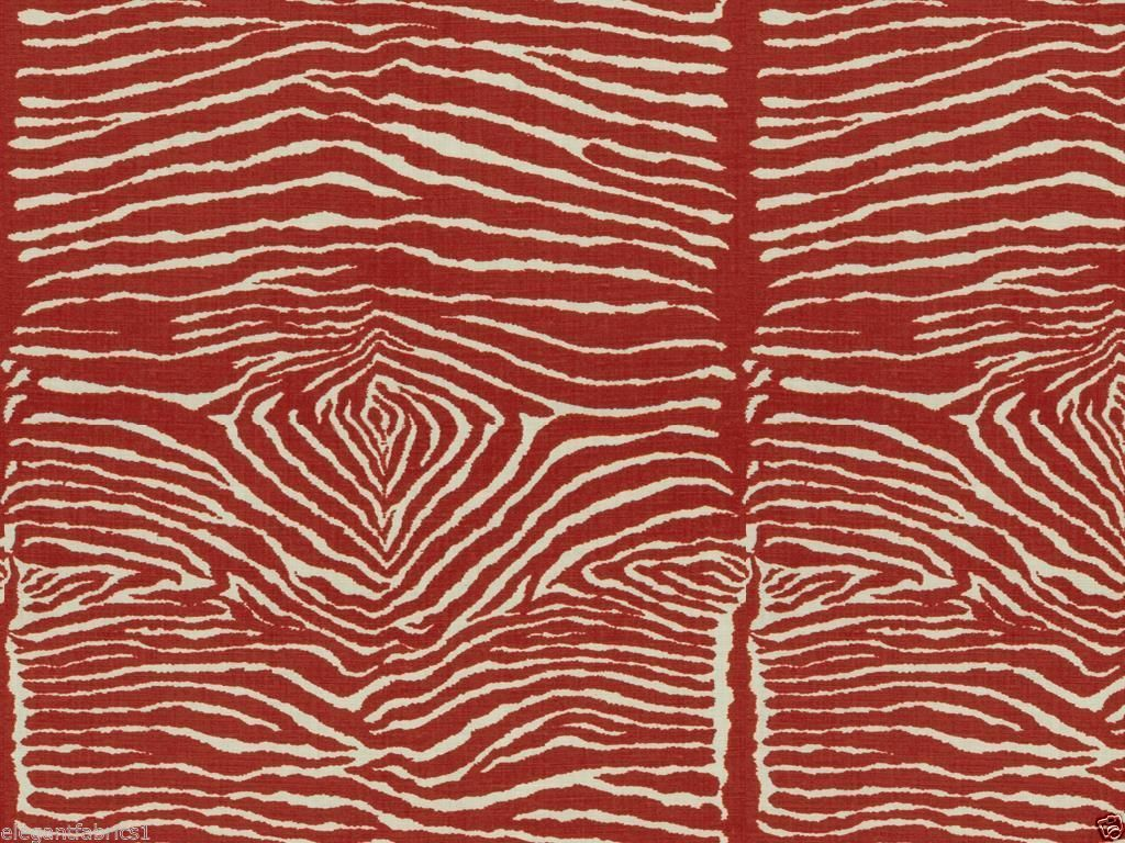 Brunschwig Fils Le Zebre Zebra Linen Print Fabric 10 Yards Red