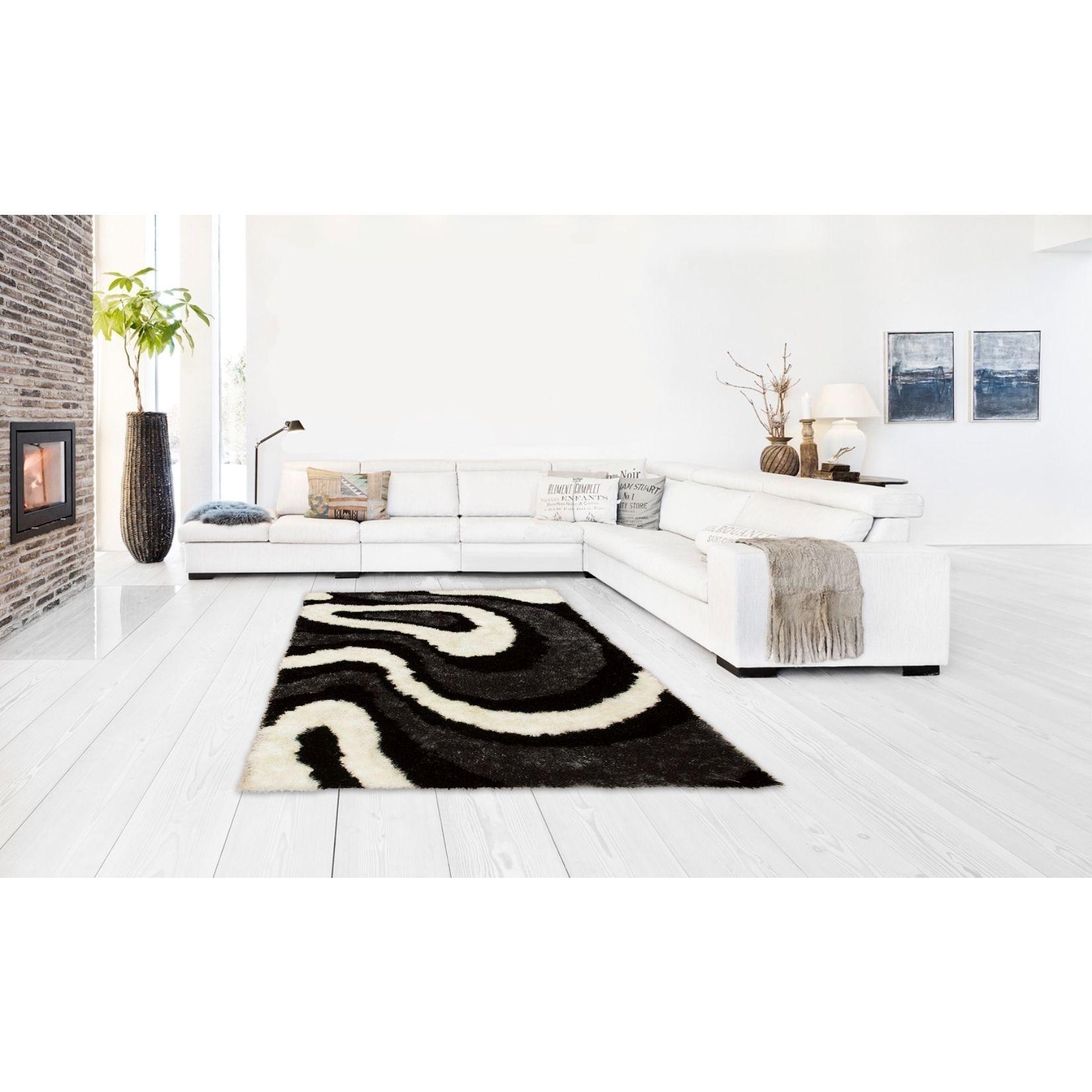Lyke home hand tufted black silkbright yarn rug u x u high