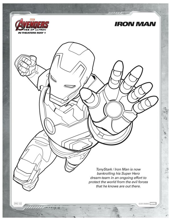 Free Printable Marvel Avengers Iron Man Coloring Page