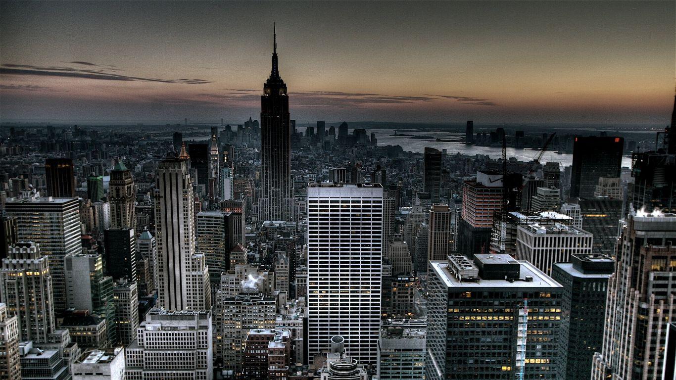 1366x768 Wallpaper New York Usa Evening Skyscrapers