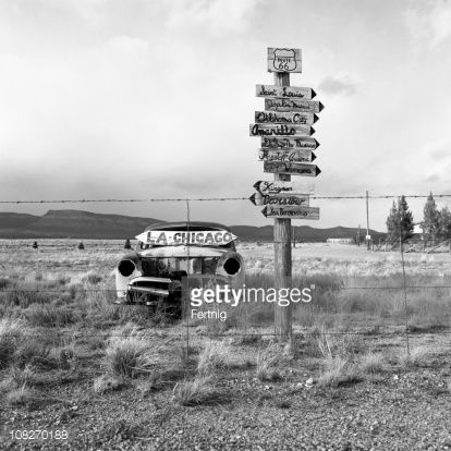 Stock Photo : Old, Abandoned Car in Desert Along Route 66