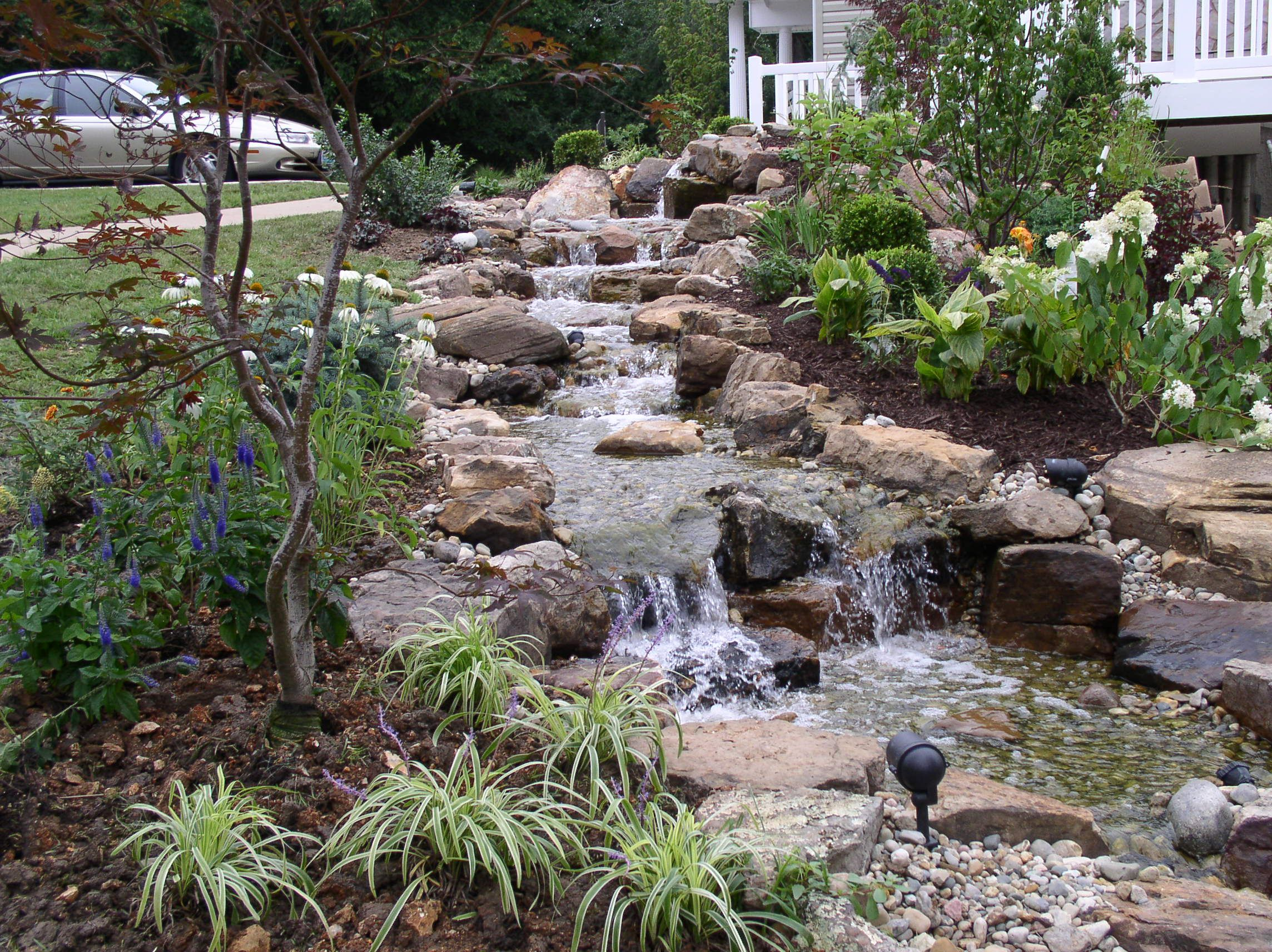 Pictures backyard waterfalls stream flowing away from for Pond features