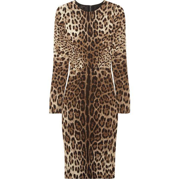 Dolce & Gabbana Leopard-print crepe dress ❤ liked on Polyvore
