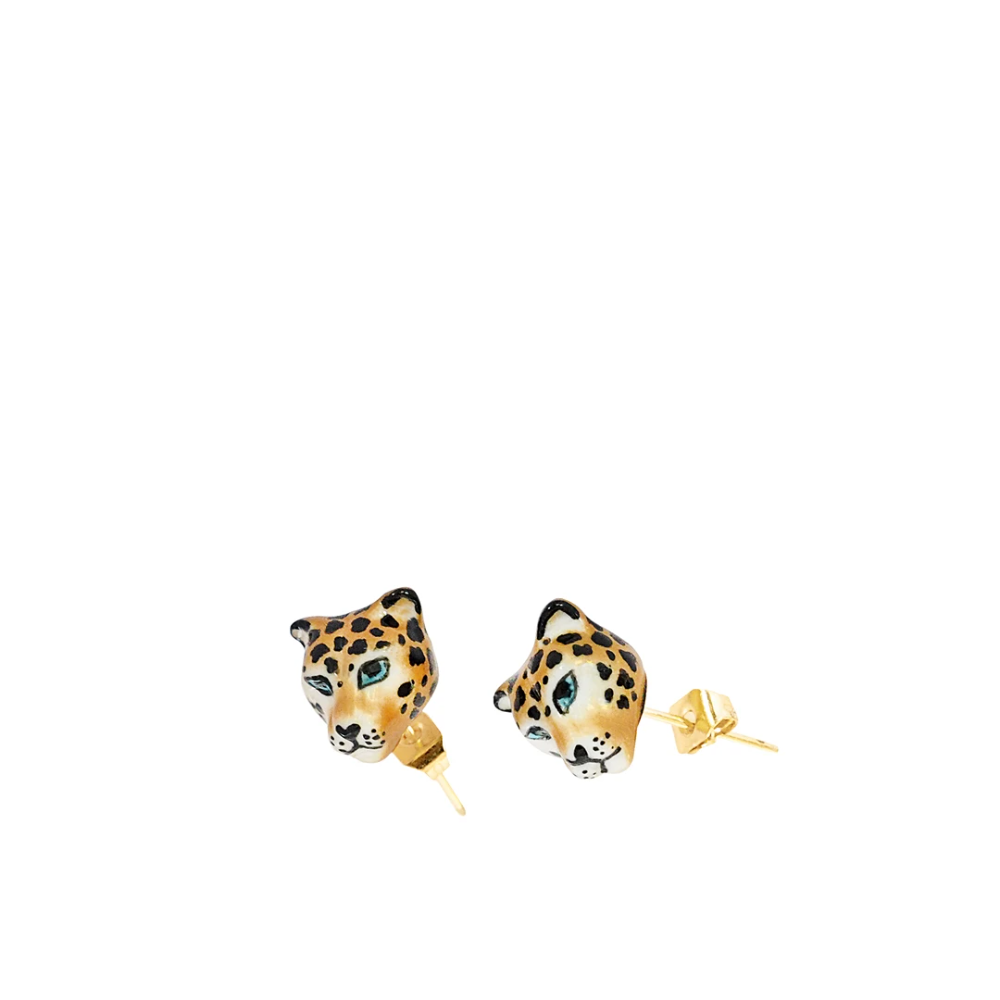 Nach Bijoux Mini Leopard Head Earrings – Clare V.