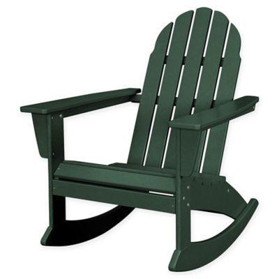 Polywood Vineyard Outdoor Adirondack Rocking Chair In Green