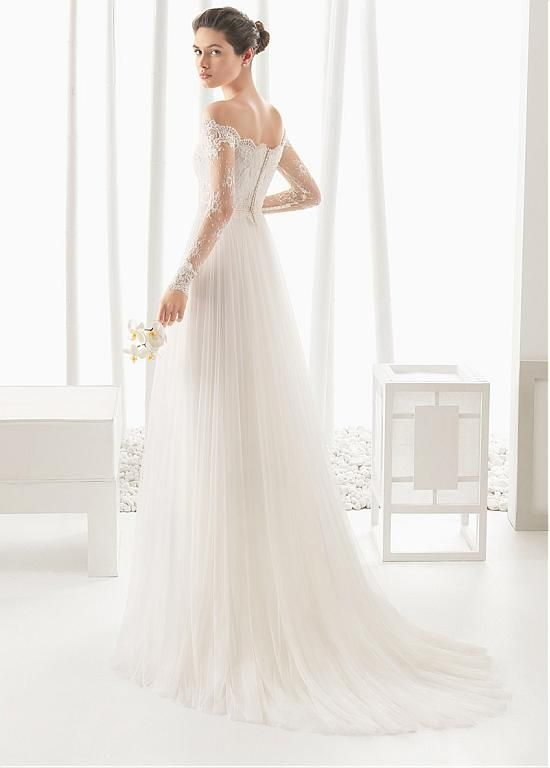 Alluring Tulle & Lace Off-the-shoulder Neckline A-line Wedding Dresses with Beadings