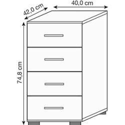 Photo of Hammerbacher 924S4 drawer cabinet silver / gray 4 drawers Hammerbacher