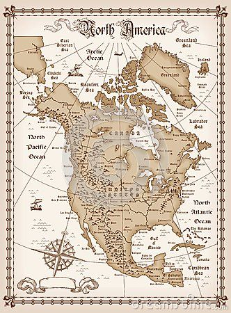 America Map With Compass.Vintage Map Of North America Vintage Maps Vintage Maps Map