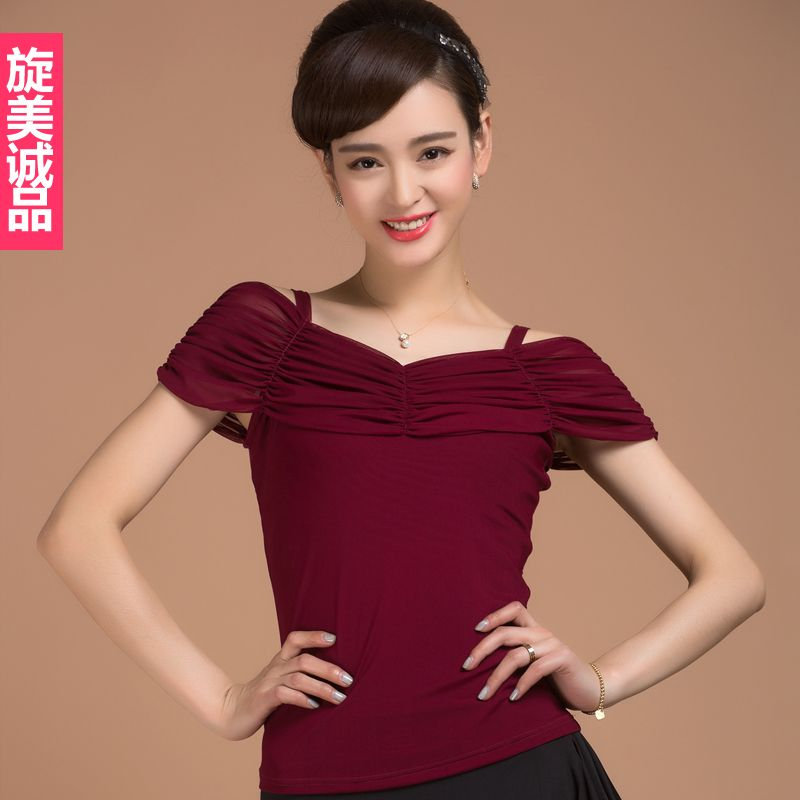 767889b939c Click to Buy    New fashion Sexy Short sleeve modern Latin dancing clothing  top for women female girl dancer Tango Ballroom costume  Affiliate
